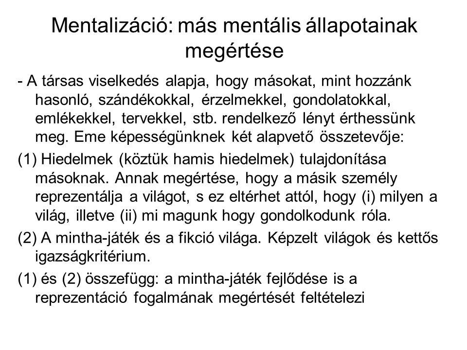 Mentalizáció: más mentális állapotainak megértése