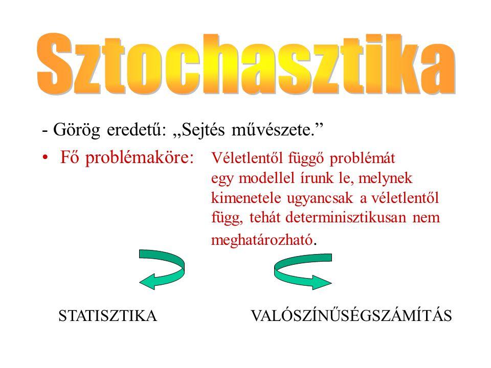 """Sztochasztika - Görög eredetű: """"Sejtés művészete."""
