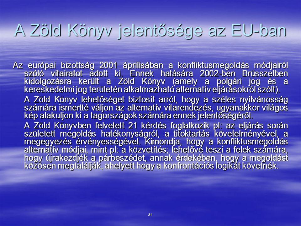A Zöld Könyv jelentősége az EU-ban