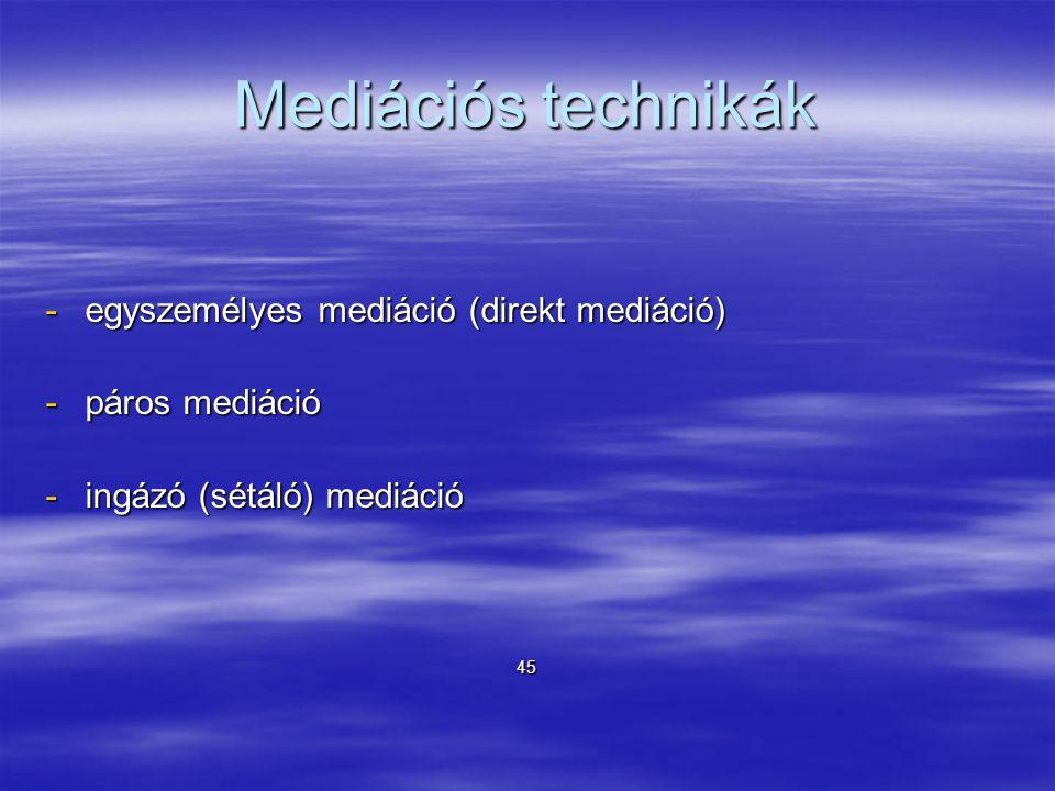 Mediációs technikák egyszemélyes mediáció (direkt mediáció)