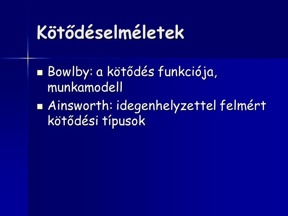 Kötődéselméletek Bowlby: a kötődés funkciója, munkamodell