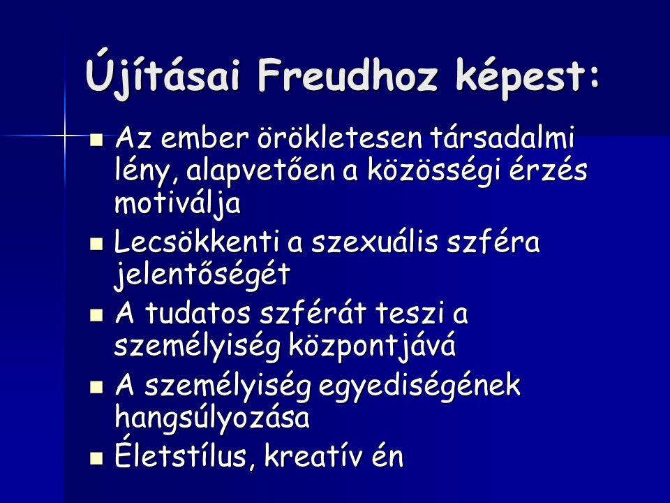 Újításai Freudhoz képest: