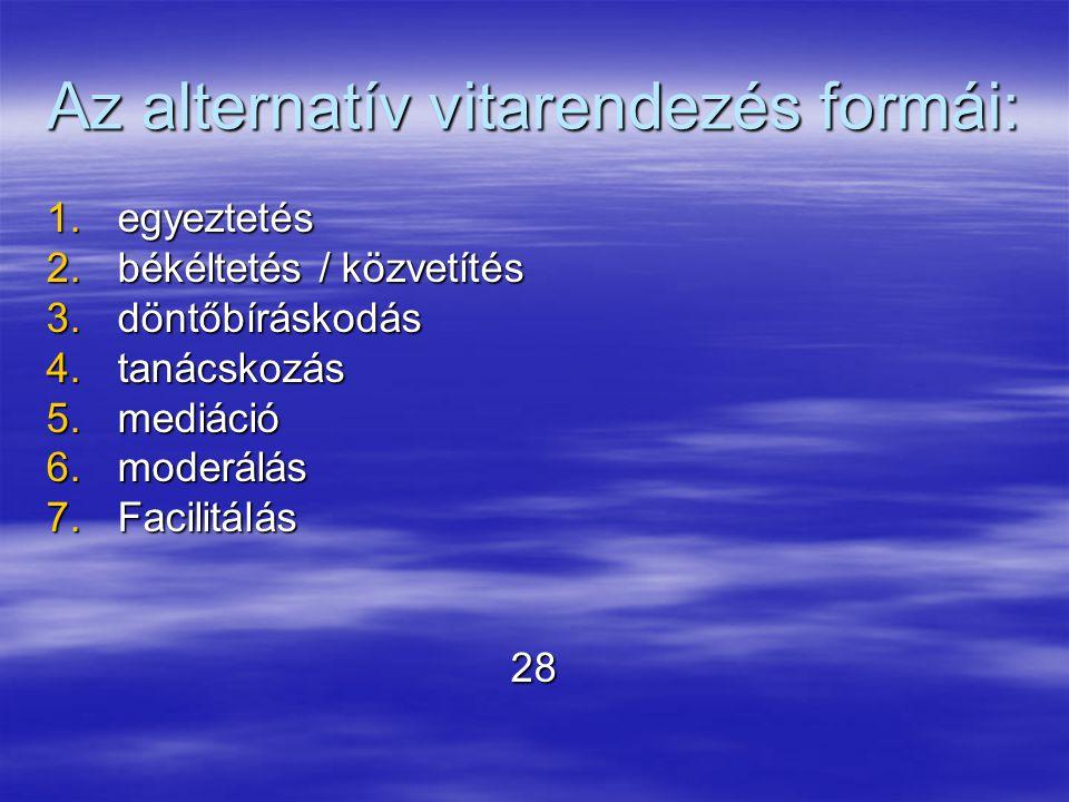 Az alternatív vitarendezés formái: