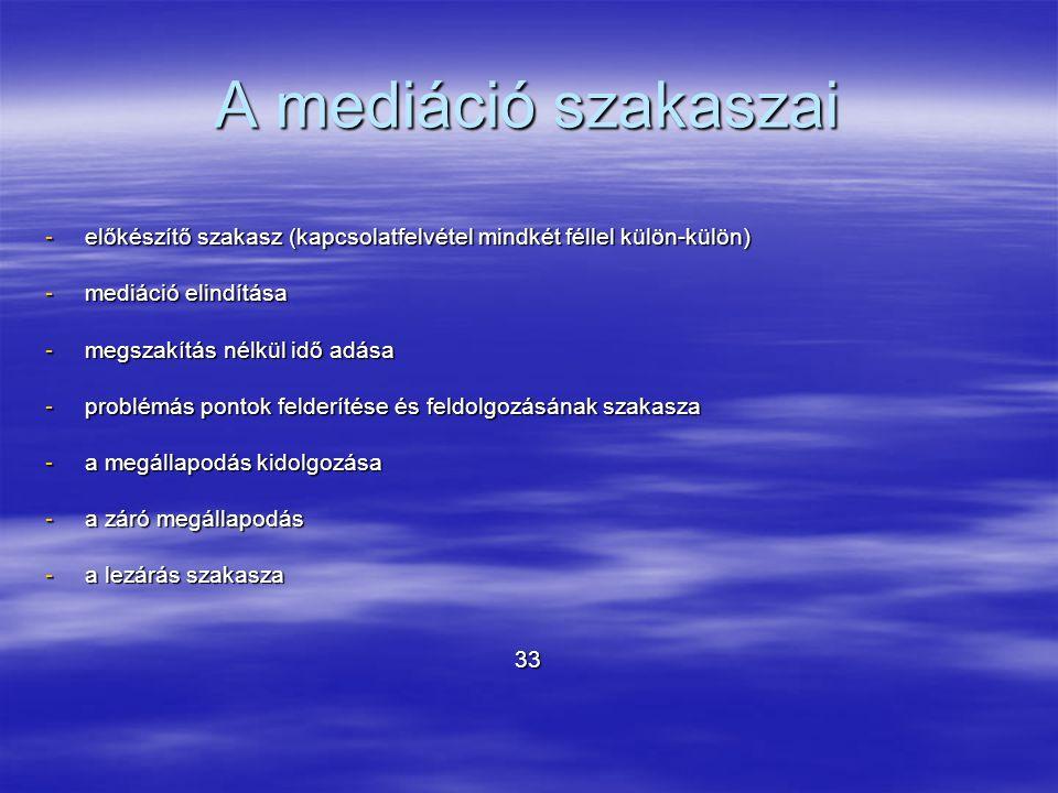 A mediáció szakaszai előkészítő szakasz (kapcsolatfelvétel mindkét féllel külön-külön) mediáció elindítása.