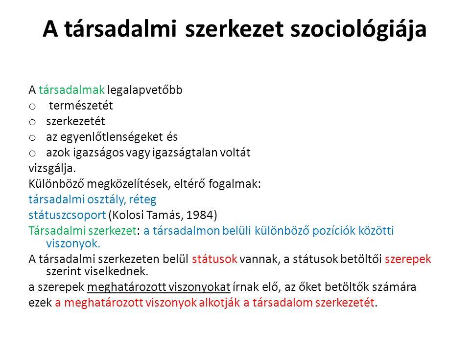 A társadalmi szerkezet szociológiája