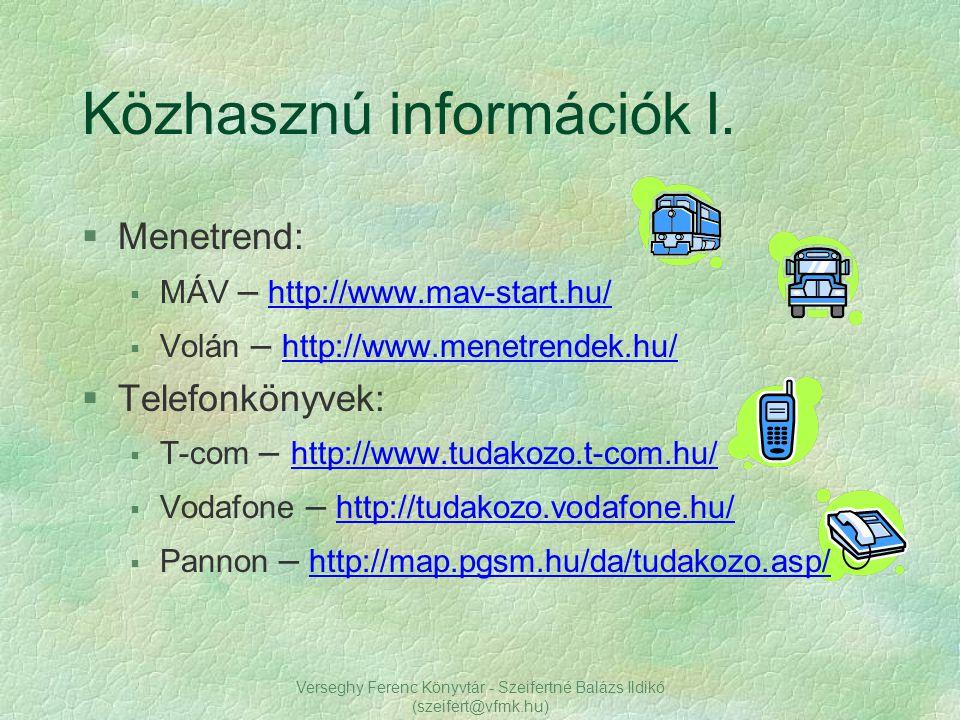 Közhasznú információk I.