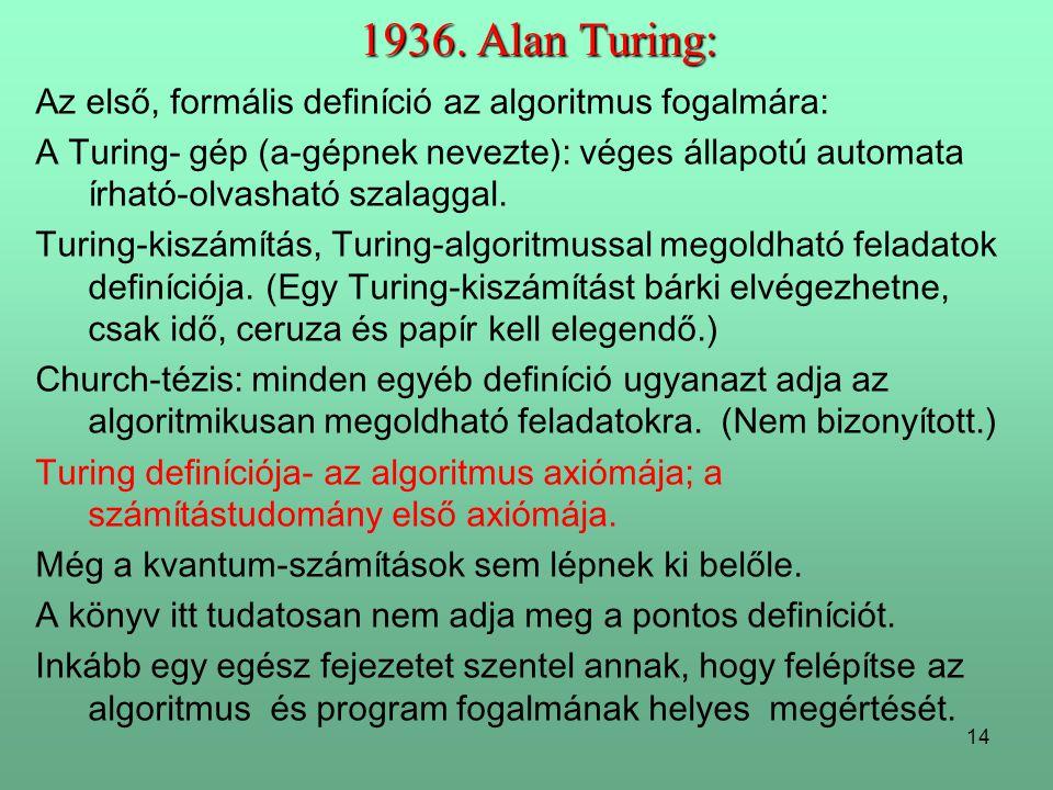 1936. Alan Turing: Az első, formális definíció az algoritmus fogalmára: