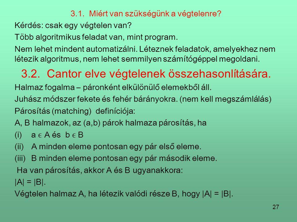 3.2. Cantor elve végtelenek összehasonlítására.