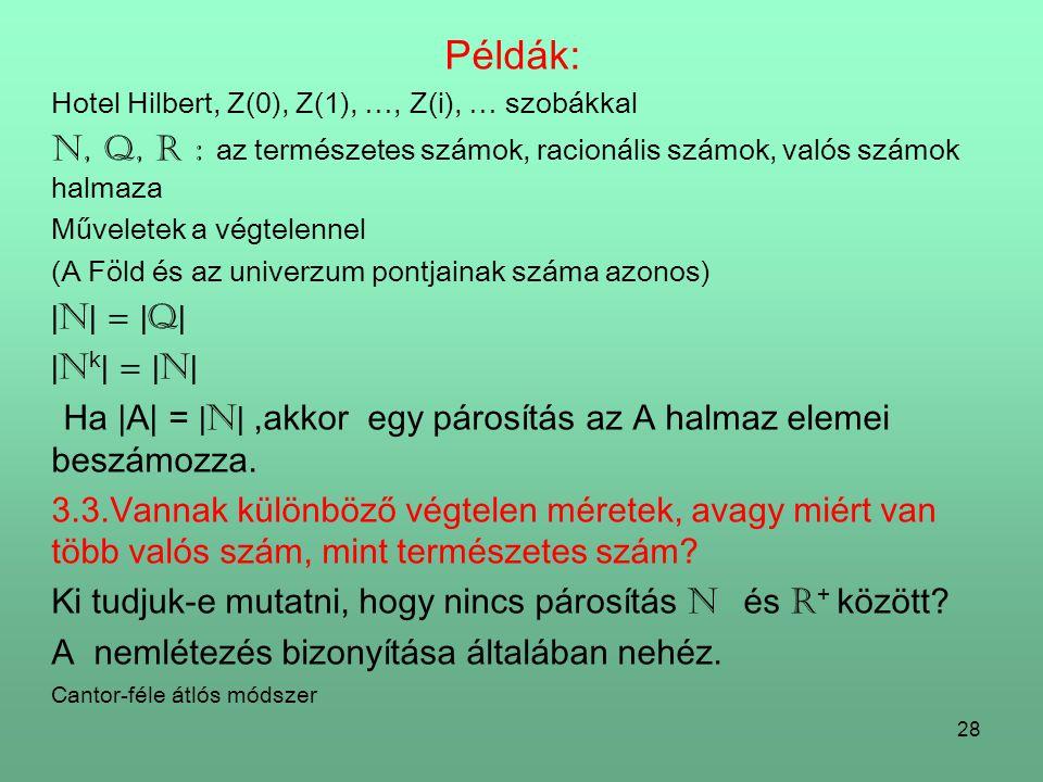 Példák: Hotel Hilbert, Z(0), Z(1), …, Z(i), … szobákkal. N, Q, R : az természetes számok, racionális számok, valós számok halmaza.