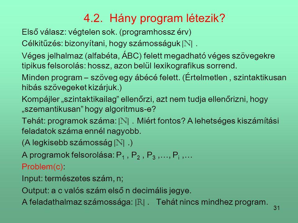 4.2. Hány program létezik Első válasz: végtelen sok. (programhossz érv) Célkitűzés: bizonyítani, hogy számosságuk |N| .