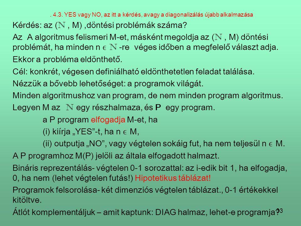 Kérdés: az (N , M) ,döntési problémák száma