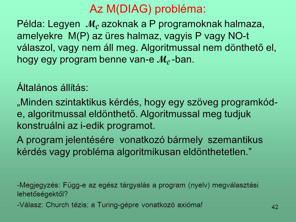 Az M(DIAG) probléma: