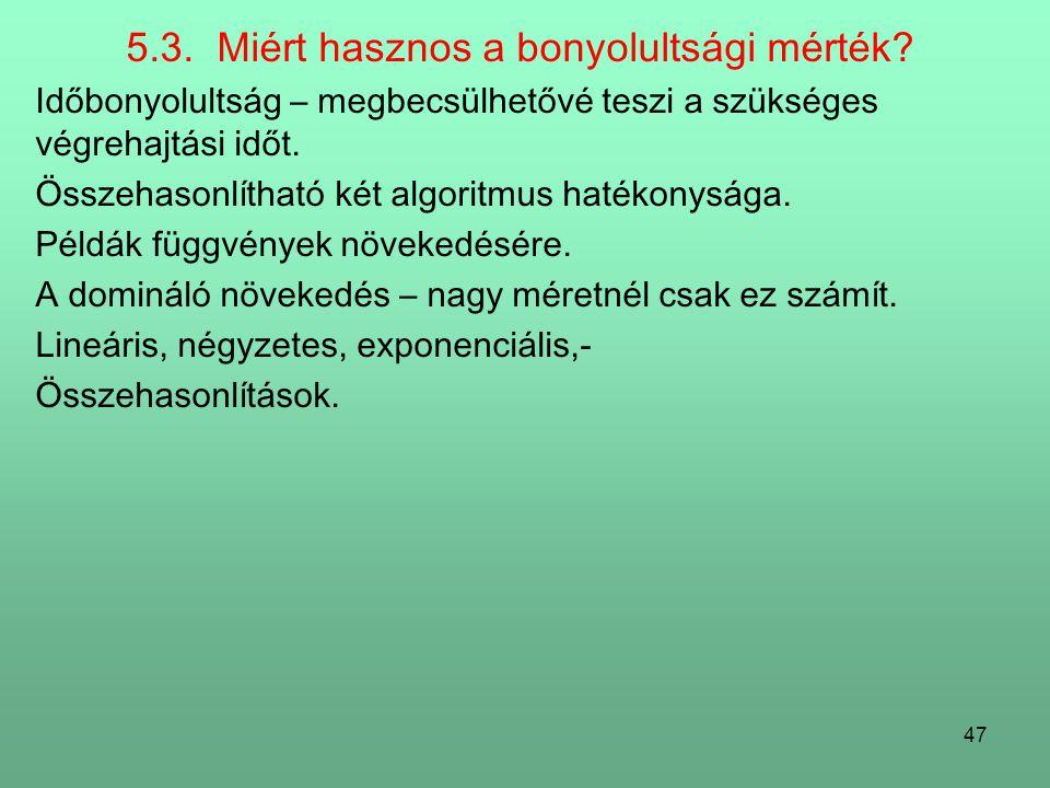 5.3. Miért hasznos a bonyolultsági mérték