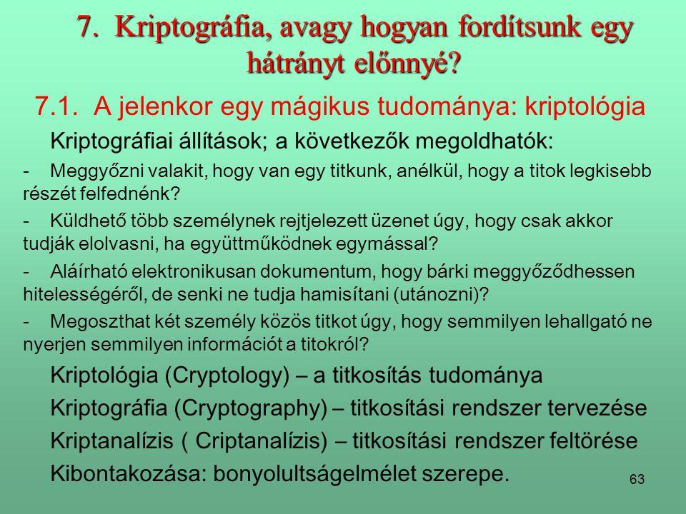 7. Kriptográfia, avagy hogyan fordítsunk egy hátrányt előnnyé