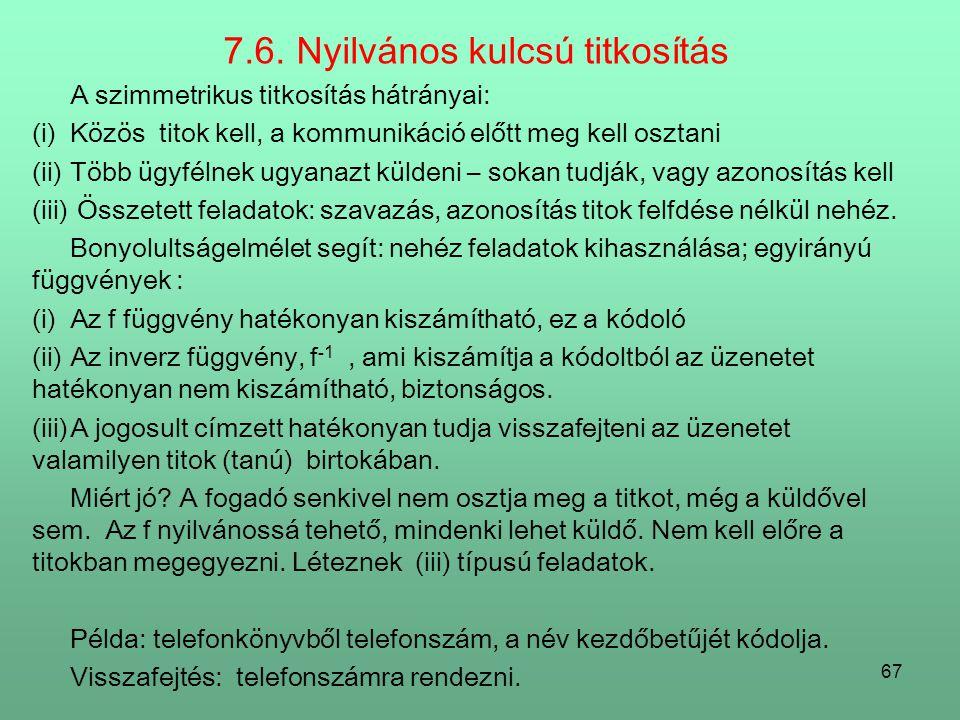 7.6. Nyilvános kulcsú titkosítás