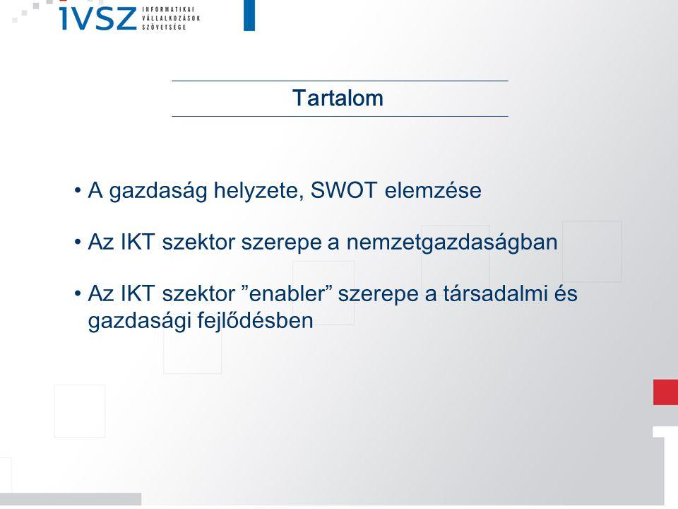 Tartalom A gazdaság helyzete, SWOT elemzése. Az IKT szektor szerepe a nemzetgazdaságban.
