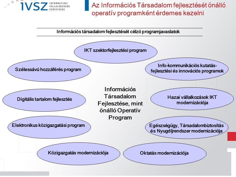 Az Információs Társadalom fejlesztését önálló operatív programként érdemes kezelni