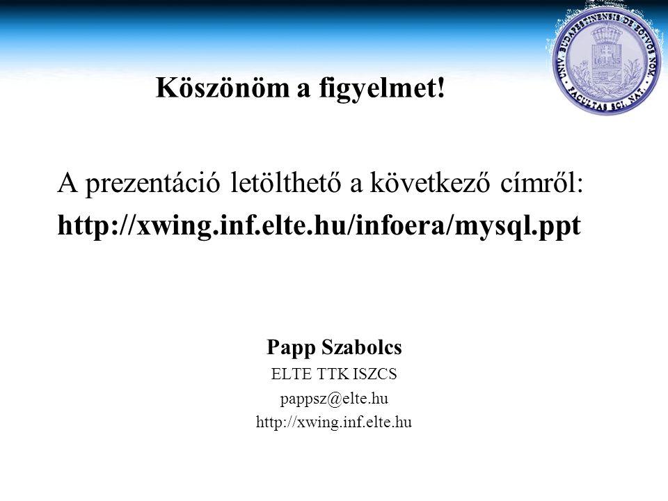 A prezentáció letölthető a következő címről: