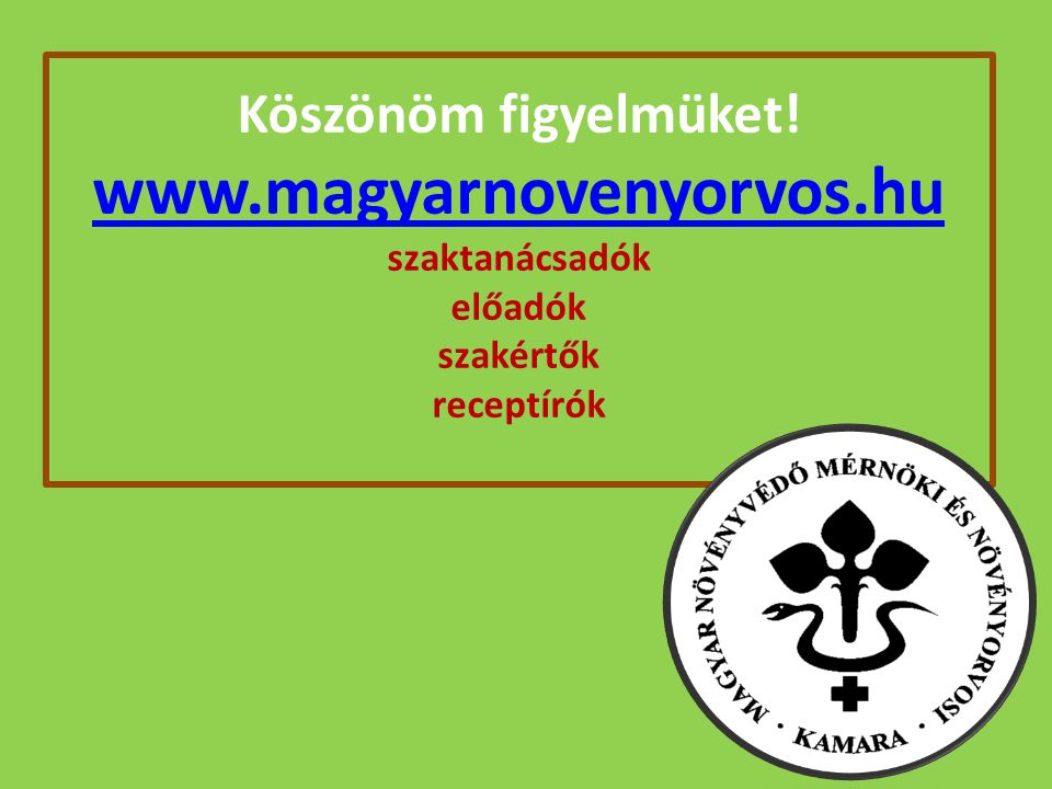 Köszönöm figyelmüket. www. magyarnovenyorvos