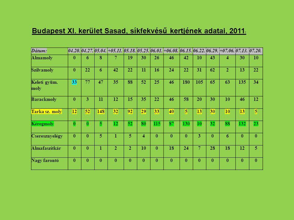 Budapest XI. kerület Sasad, síkfekvésű kertjének adatai, 2011: