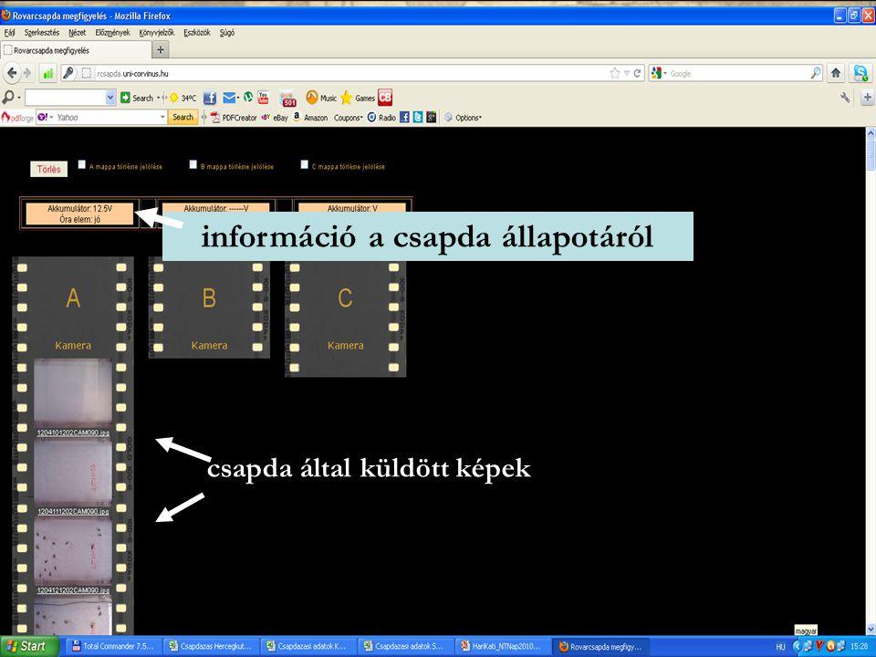 információ a csapda állapotáról csapda által küldött képek