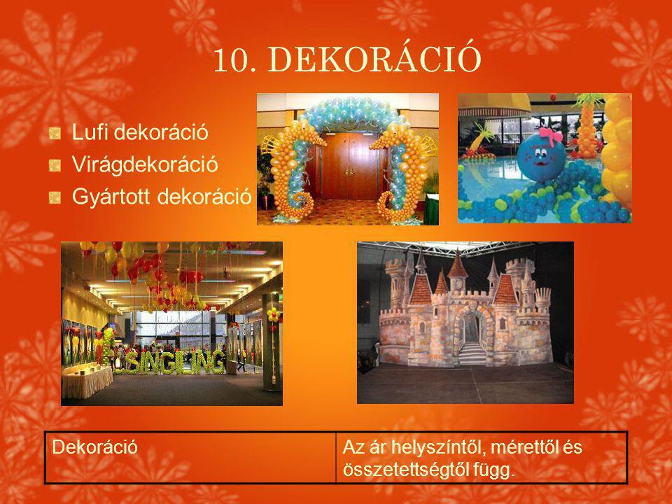 10. DEKORÁCIÓ Lufi dekoráció Virágdekoráció Gyártott dekoráció