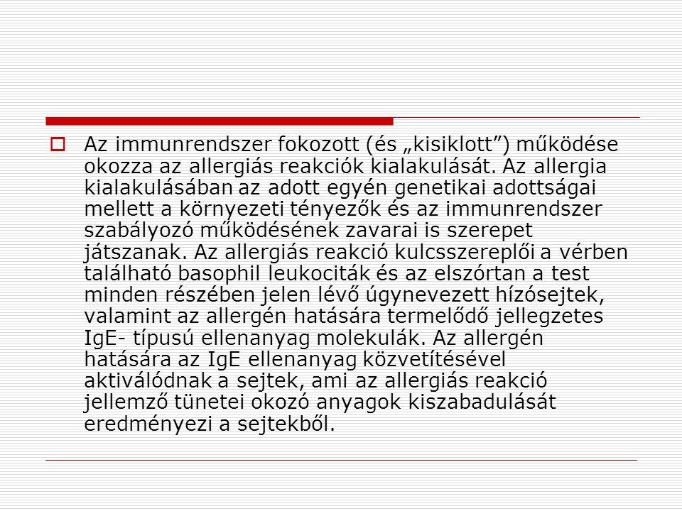 """Az immunrendszer fokozott (és """"kisiklott ) működése okozza az allergiás reakciók kialakulását."""