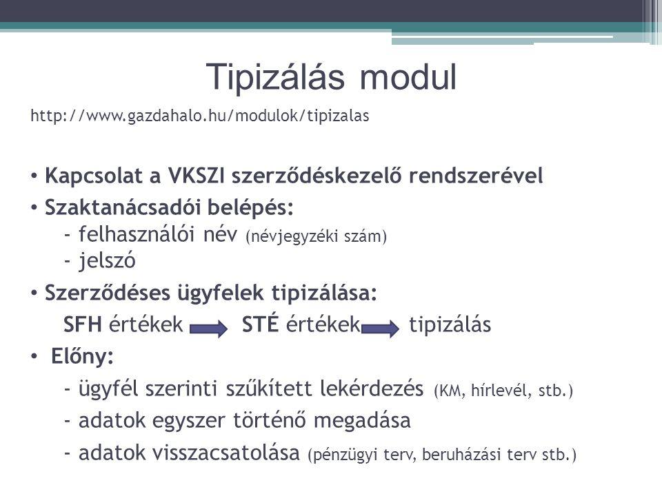 Tipizálás modul Kapcsolat a VKSZI szerződéskezelő rendszerével