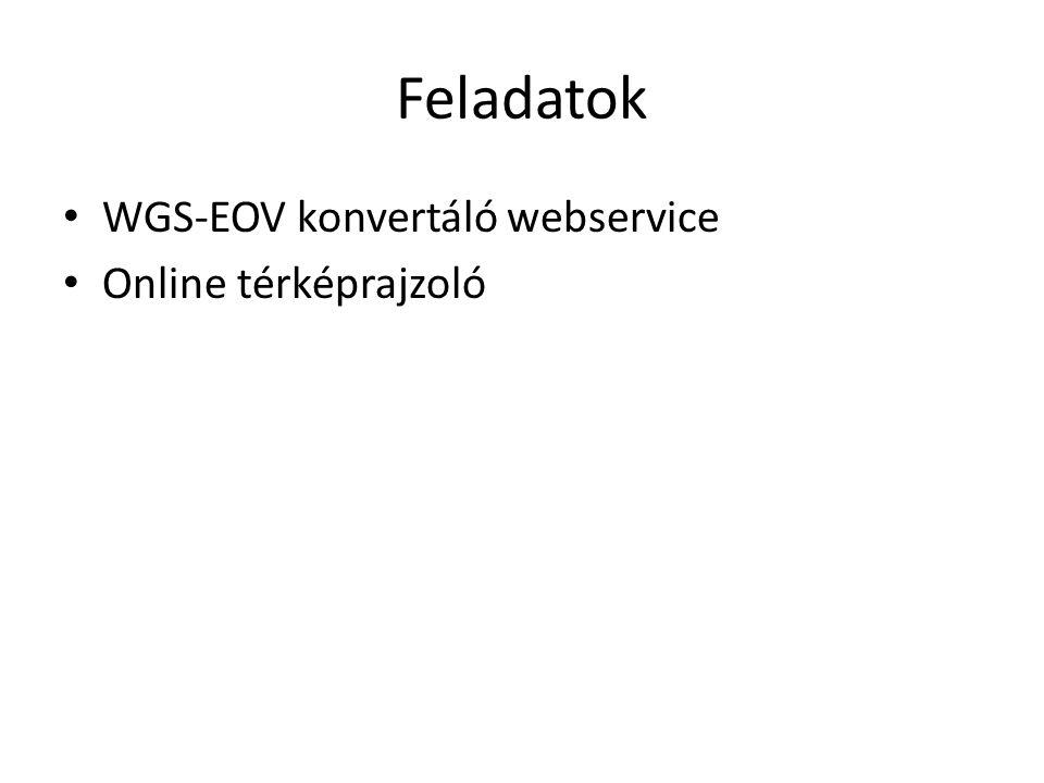 Feladatok WGS-EOV konvertáló webservice Online térképrajzoló