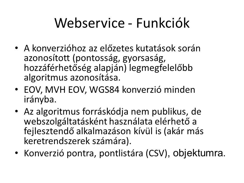 Webservice - Funkciók