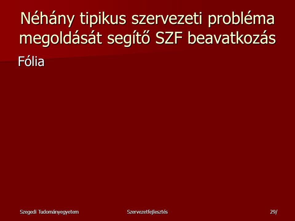 Néhány tipikus szervezeti probléma megoldását segítő SZF beavatkozás