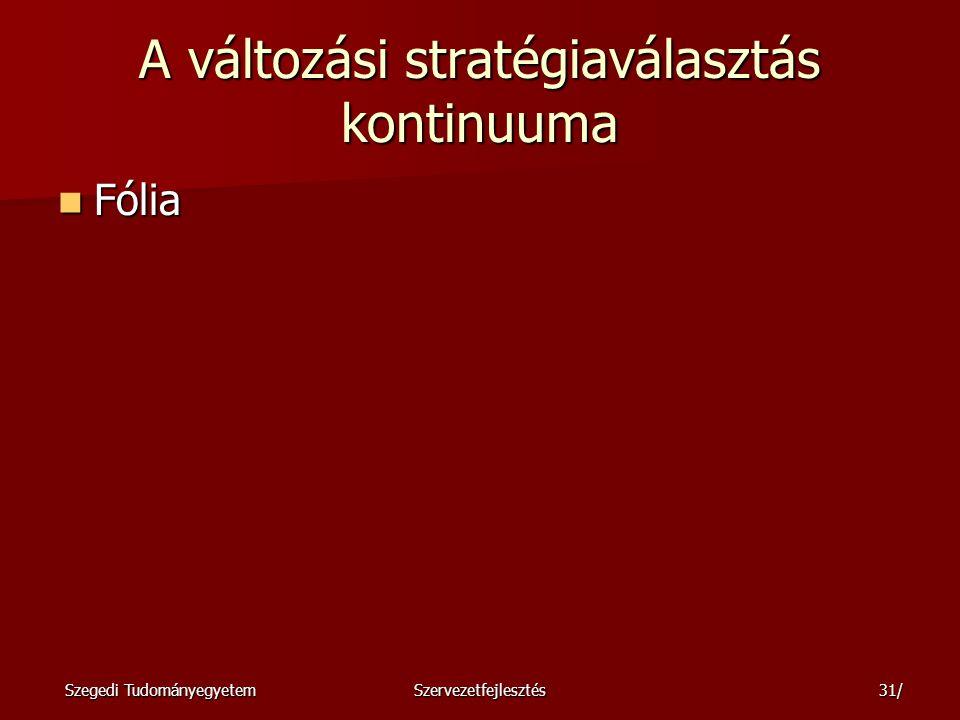 A változási stratégiaválasztás kontinuuma