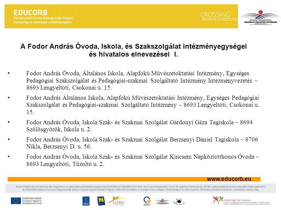 A Fodor András Óvoda, Iskola, és Szakszolgálat intézményegységei és hivatalos elnevezései I.