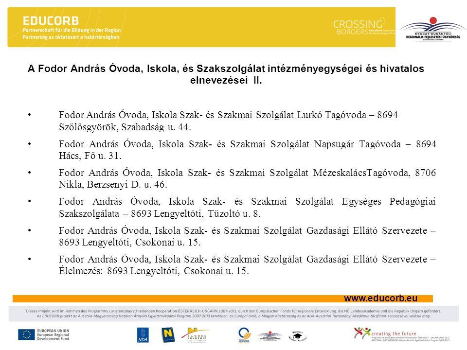 A Fodor András Óvoda, Iskola, és Szakszolgálat intézményegységei és hivatalos elnevezései II.