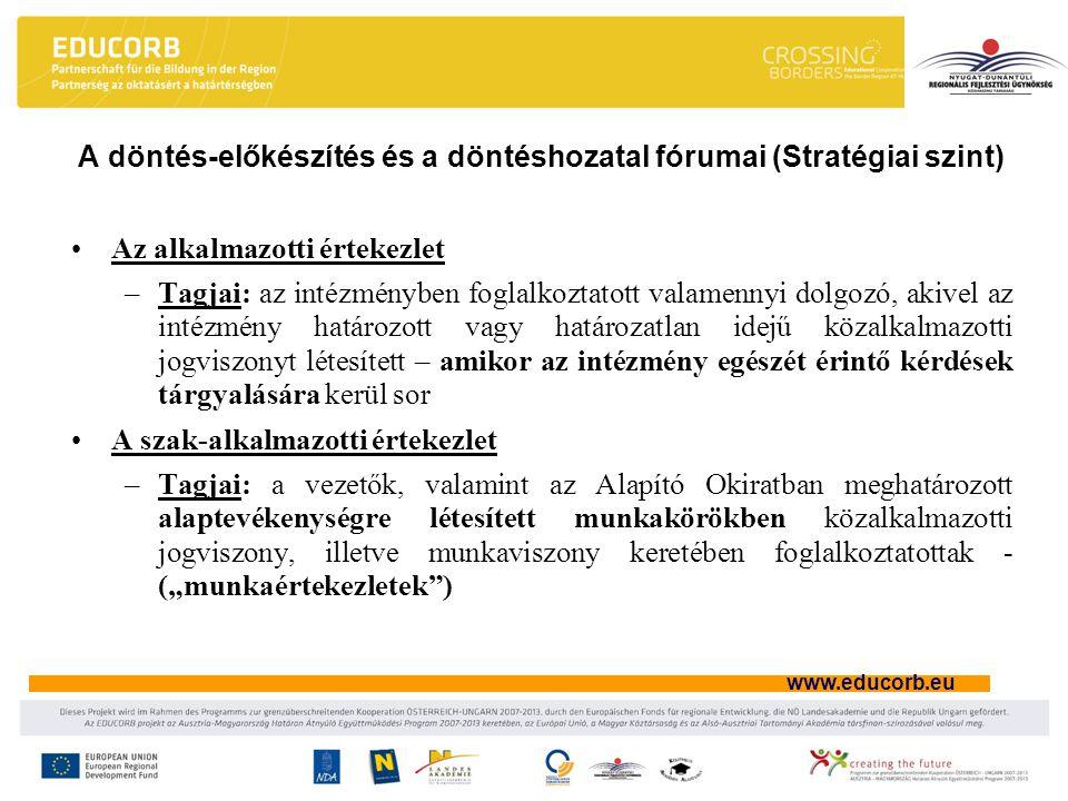 A döntés-előkészítés és a döntéshozatal fórumai (Stratégiai szint)