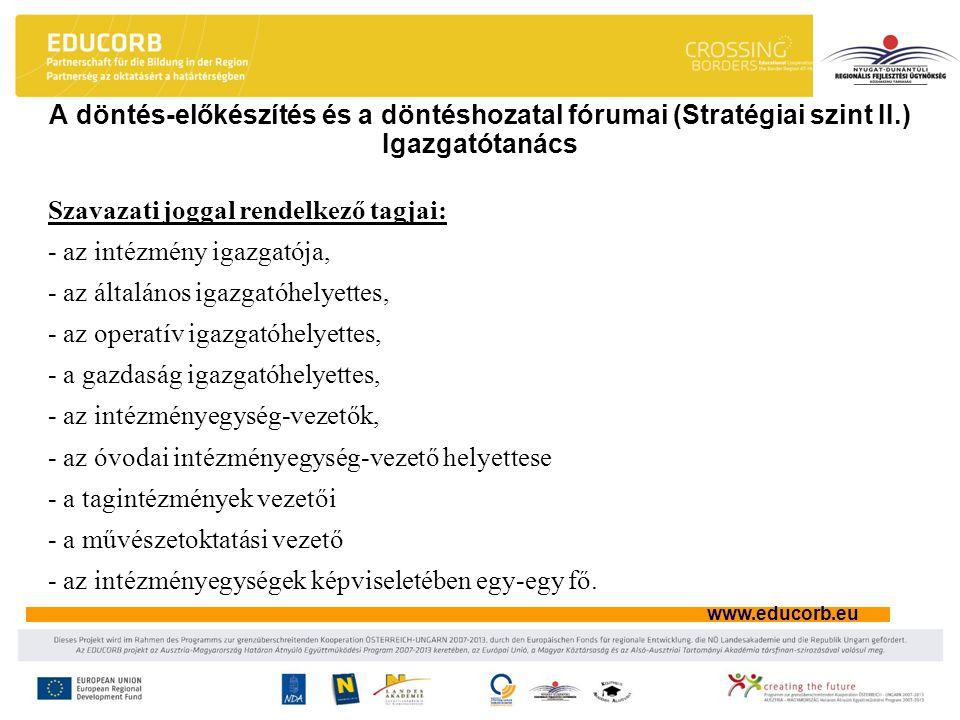 A döntés-előkészítés és a döntéshozatal fórumai (Stratégiai szint II