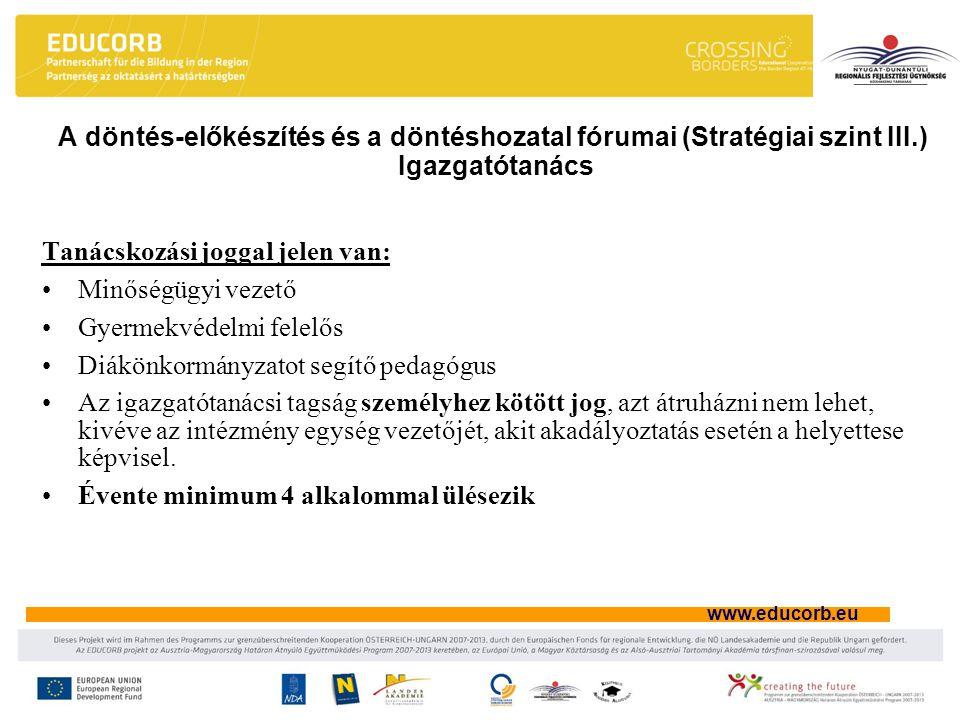 A döntés-előkészítés és a döntéshozatal fórumai (Stratégiai szint III
