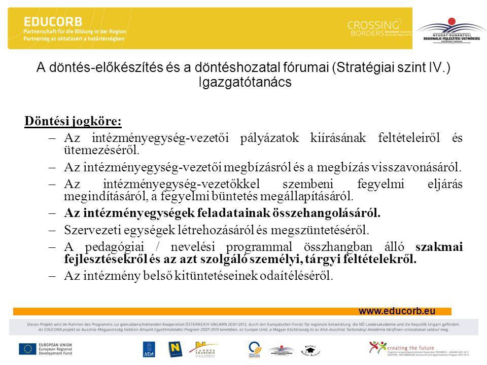 A döntés-előkészítés és a döntéshozatal fórumai (Stratégiai szint IV