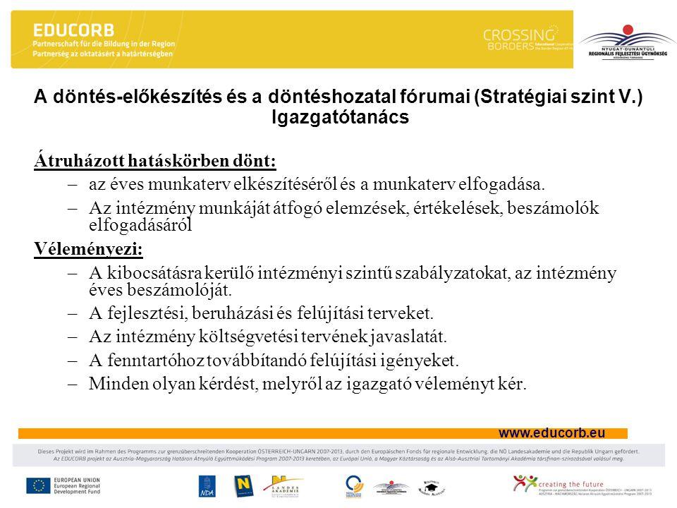 A döntés-előkészítés és a döntéshozatal fórumai (Stratégiai szint V