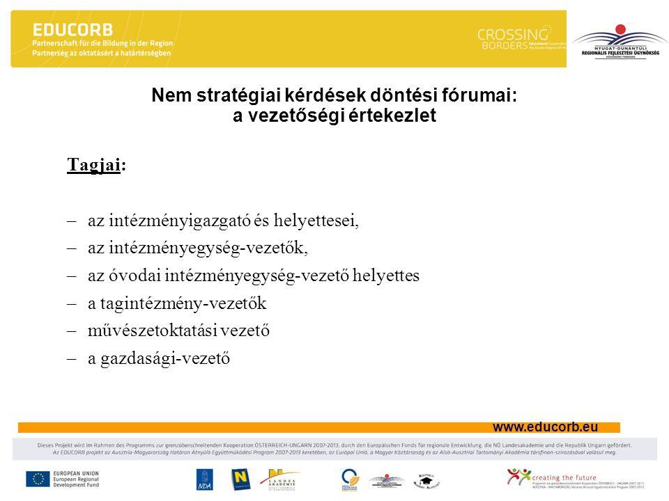 Nem stratégiai kérdések döntési fórumai: a vezetőségi értekezlet