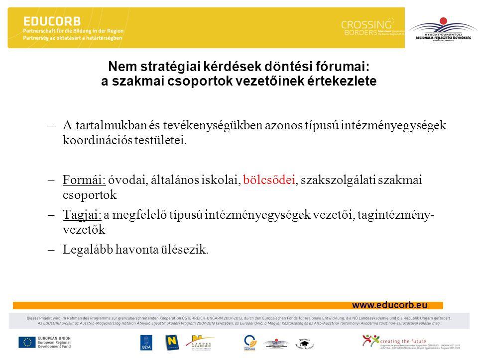 Nem stratégiai kérdések döntési fórumai: a szakmai csoportok vezetőinek értekezlete