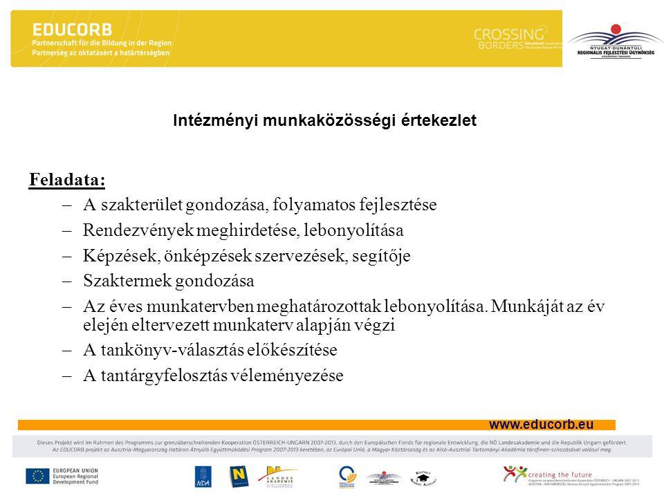Intézményi munkaközösségi értekezlet