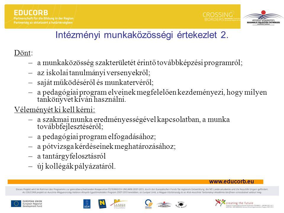 Intézményi munkaközösségi értekezlet 2.