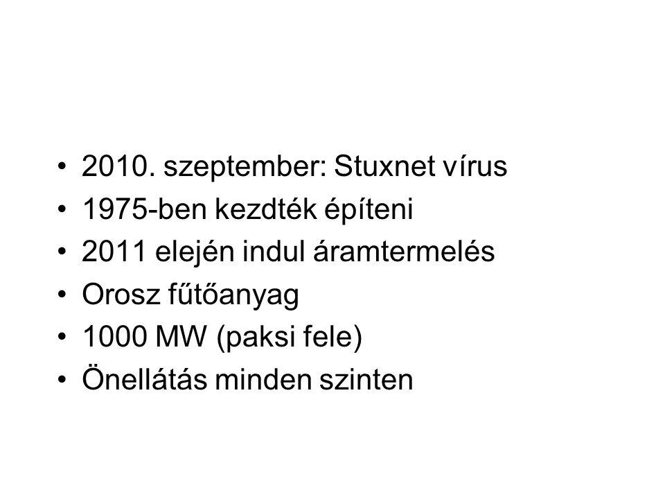 2010. szeptember: Stuxnet vírus