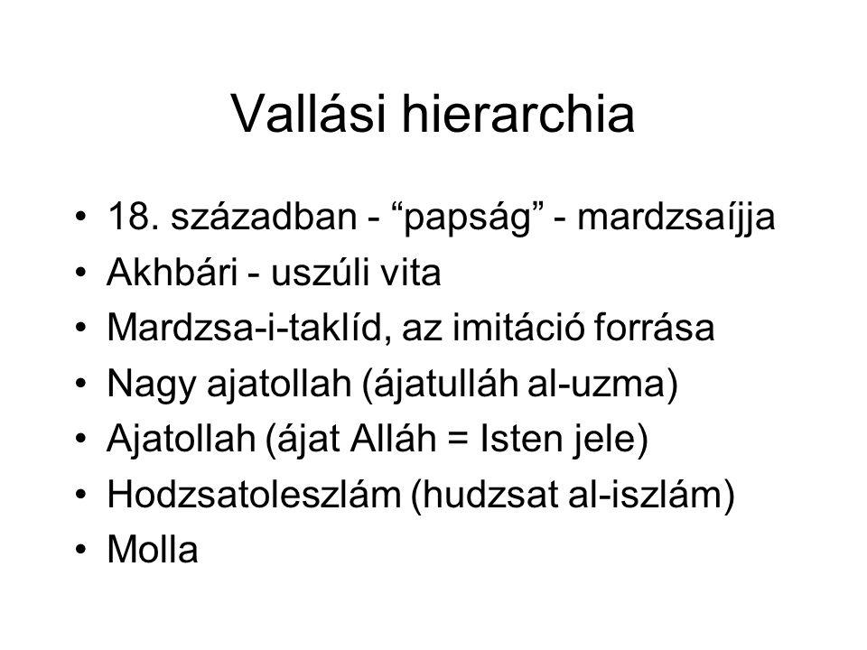 Vallási hierarchia 18. században - papság - mardzsaíjja