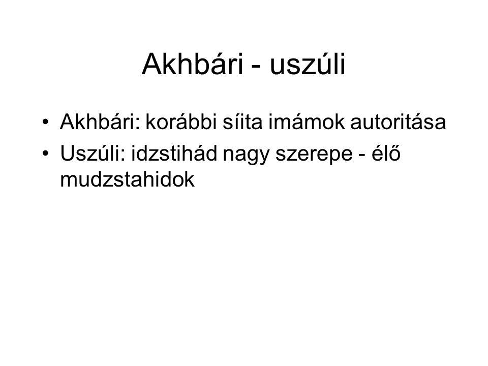 Akhbári - uszúli Akhbári: korábbi síita imámok autoritása