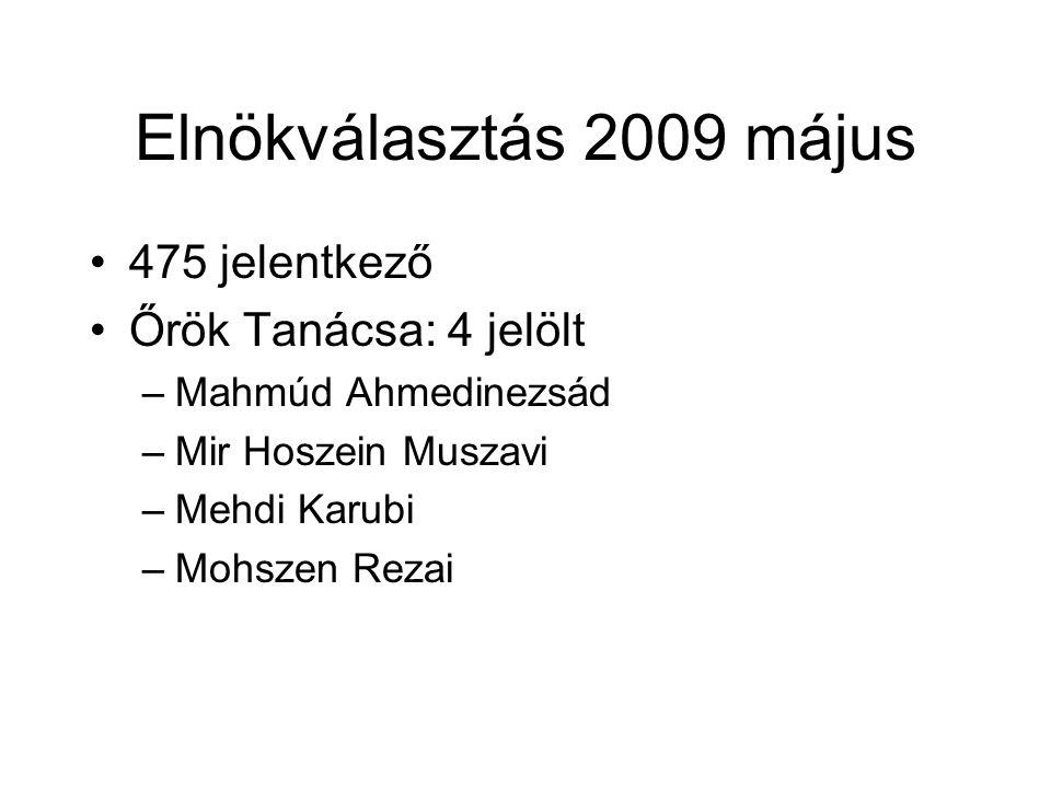 Elnökválasztás 2009 május 475 jelentkező Őrök Tanácsa: 4 jelölt