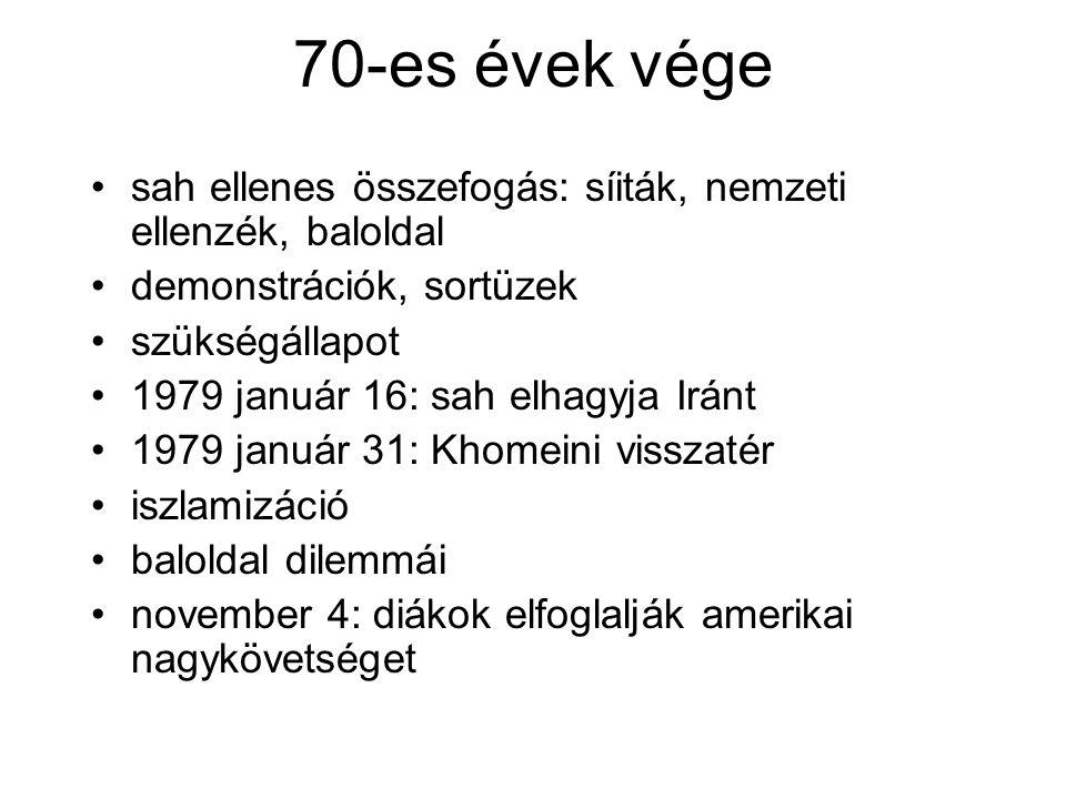 70-es évek vége sah ellenes összefogás: síiták, nemzeti ellenzék, baloldal. demonstrációk, sortüzek.