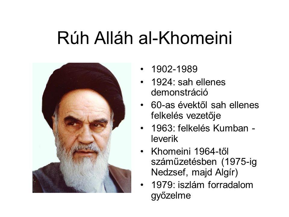 Rúh Alláh al-Khomeini 1902-1989 1924: sah ellenes demonstráció
