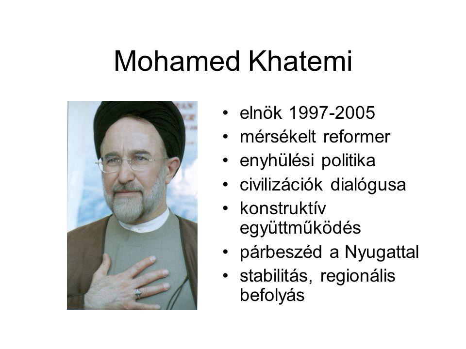 Mohamed Khatemi elnök 1997-2005 mérsékelt reformer enyhülési politika